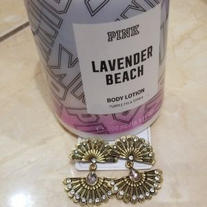 Pink lavander beach body lotion and earrings